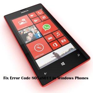 error code 805a8011 in windows phones