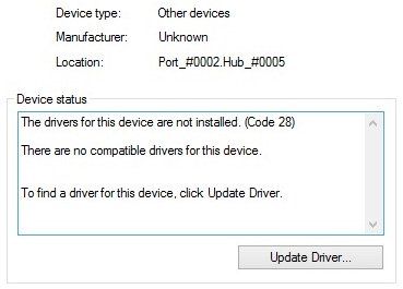 The Drivers for This Device Are Not Installed code 28