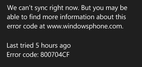 Error Code 800704cf