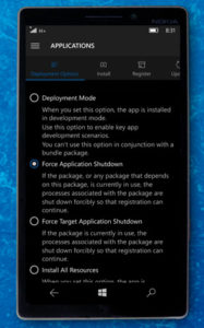 windows 10 mobile force applications