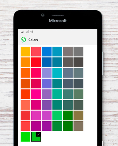 windows 10 mobile tile color