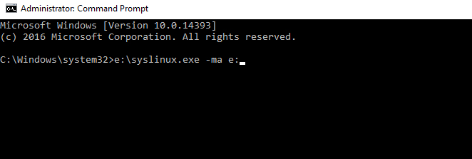 command prompt syslinux.exe