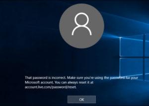 incorrect windows 10 password