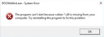 """Ошибка """"не обнаружен vulkan-1. Dll. Форумы обсуждение, помощь."""