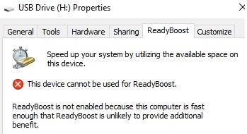 How to increase RAM using ReadyBoost USB flash drive in Windows 10?