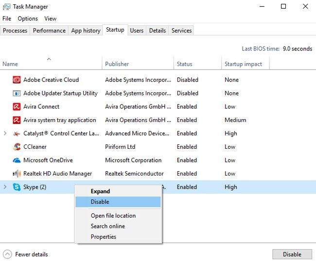 task manager windows 10 startup