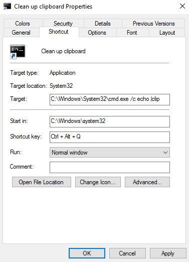 clipboard clear shortcut keys