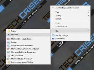 new shortcut windows 10