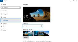 settings lock screen windows 10