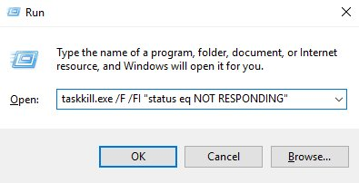 How to stop all programs that are not responding in Windows 10?