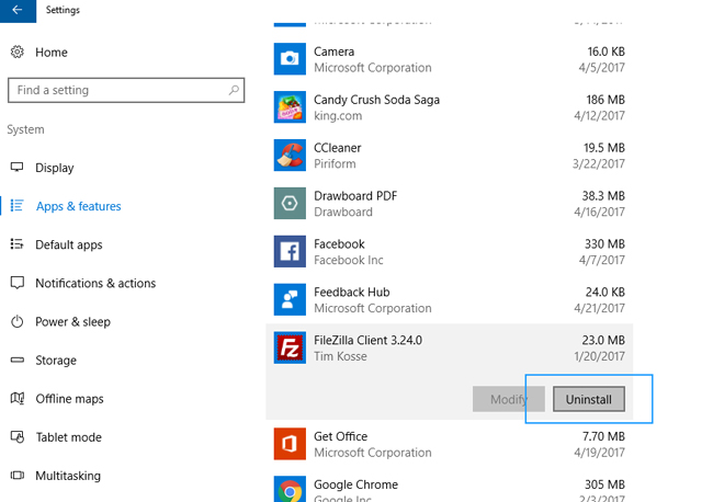 uninstall apps windows 10