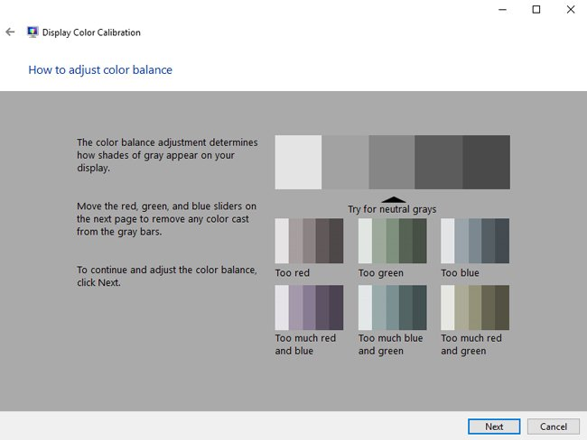adjust color balance windows 10