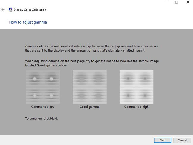 adjust gamma windows 10