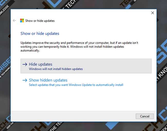 hide updates windows 10