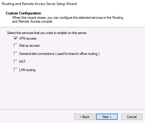 VPN access custom configuration