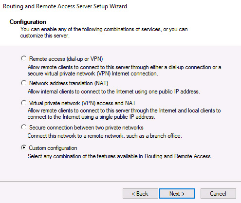 direct access VPN RAS configuration