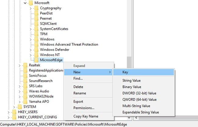 microsoft edge setting