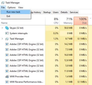 task manager run cmd