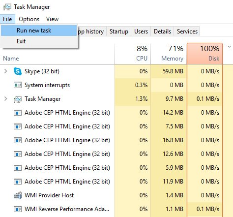 task manager run cmd