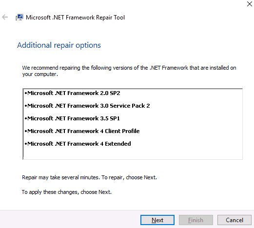 net framework error repair tool