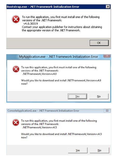 net framework initialization error