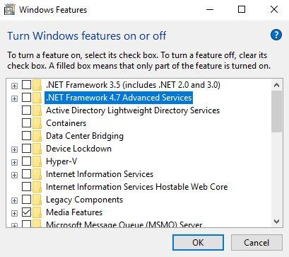 net framework initialization error features