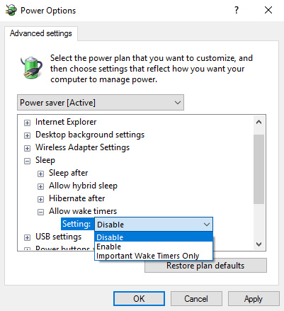 windows 10 sleep disable timers