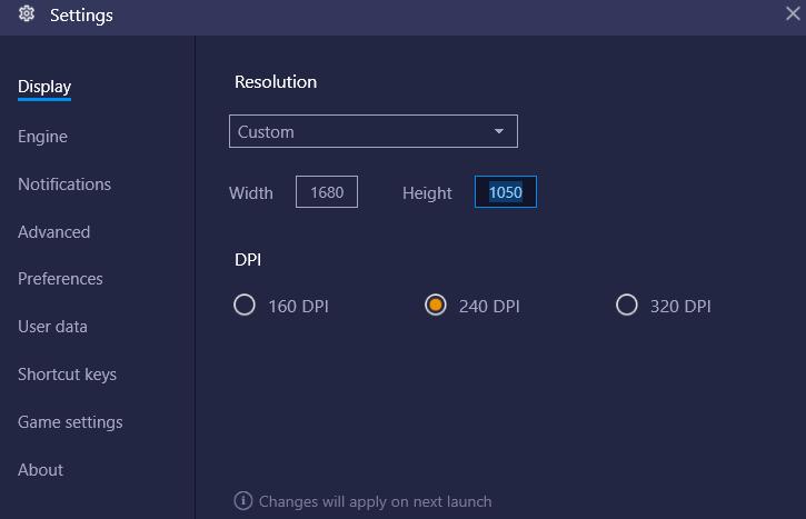 bluestacks change resolution