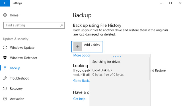 file history back up windows 10