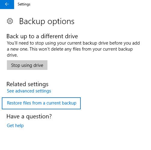 file history restore backup