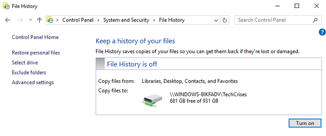 file history turn on