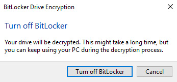 bitlocker decrypt drive windows 10