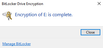 bitlocker drive encryption complete