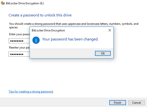 bitlocker password changed