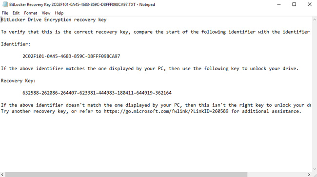 bitlocker recovery key screenshot