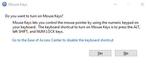 mouse keys windows 10