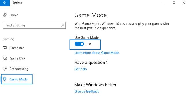 use game mode windows 10