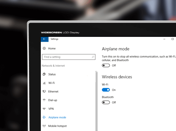 disable airplane mode windows 10
