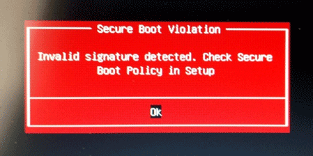 invalid signature detected
