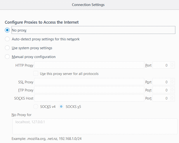 the proxy server is refusing connections access settings