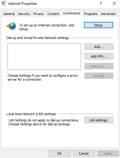 the proxy server is refusing connections lan