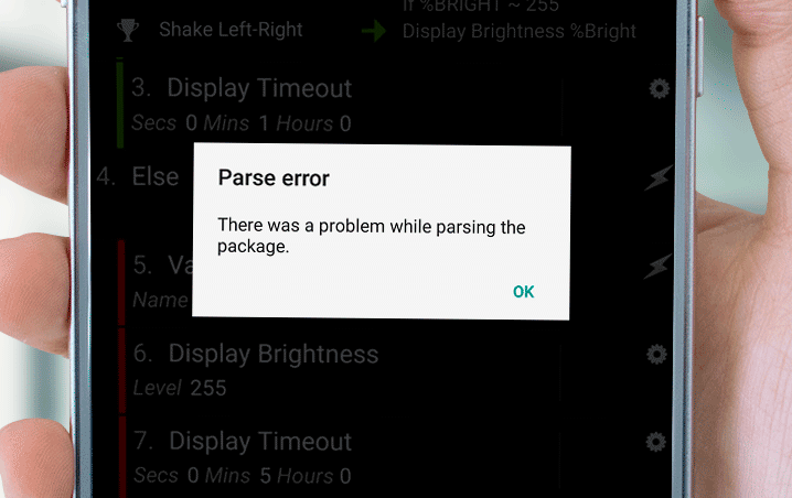 there was a problem while parsing the package android