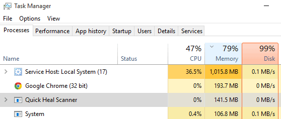 service host local system high disk usage