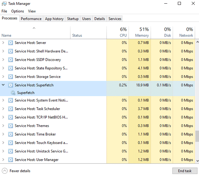 superfetch high disk usage disable