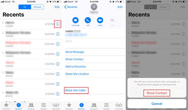 how to block a contact on iphone