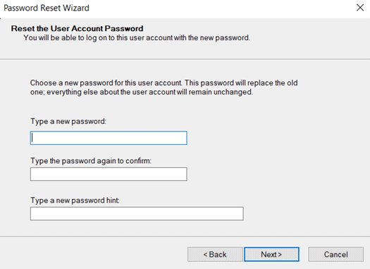windows 10 password reset wizard