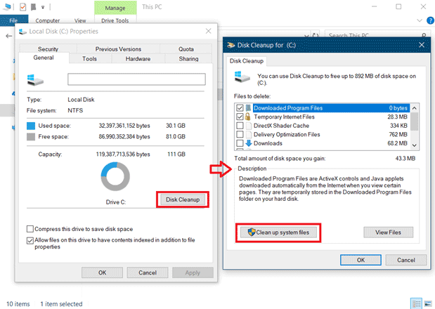 disk cleanup on windows 10