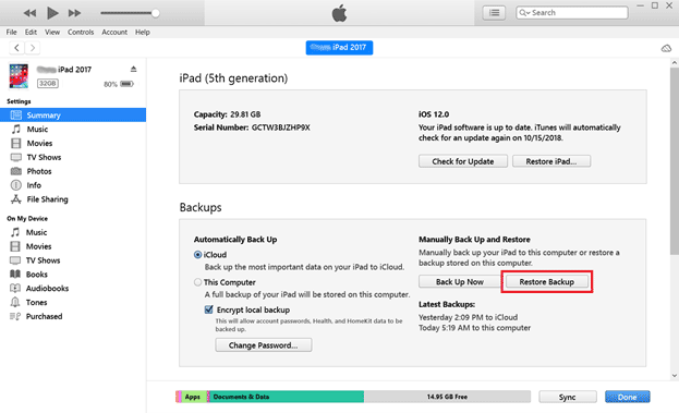 restore iphone from backup