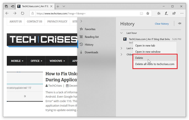 Delete History Microsoft Edge