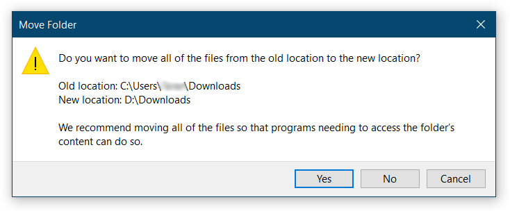 Change Downloads Folder Location on Windows 10